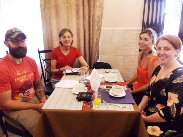 having breakfast at machame luxury hotel with world tours safaris